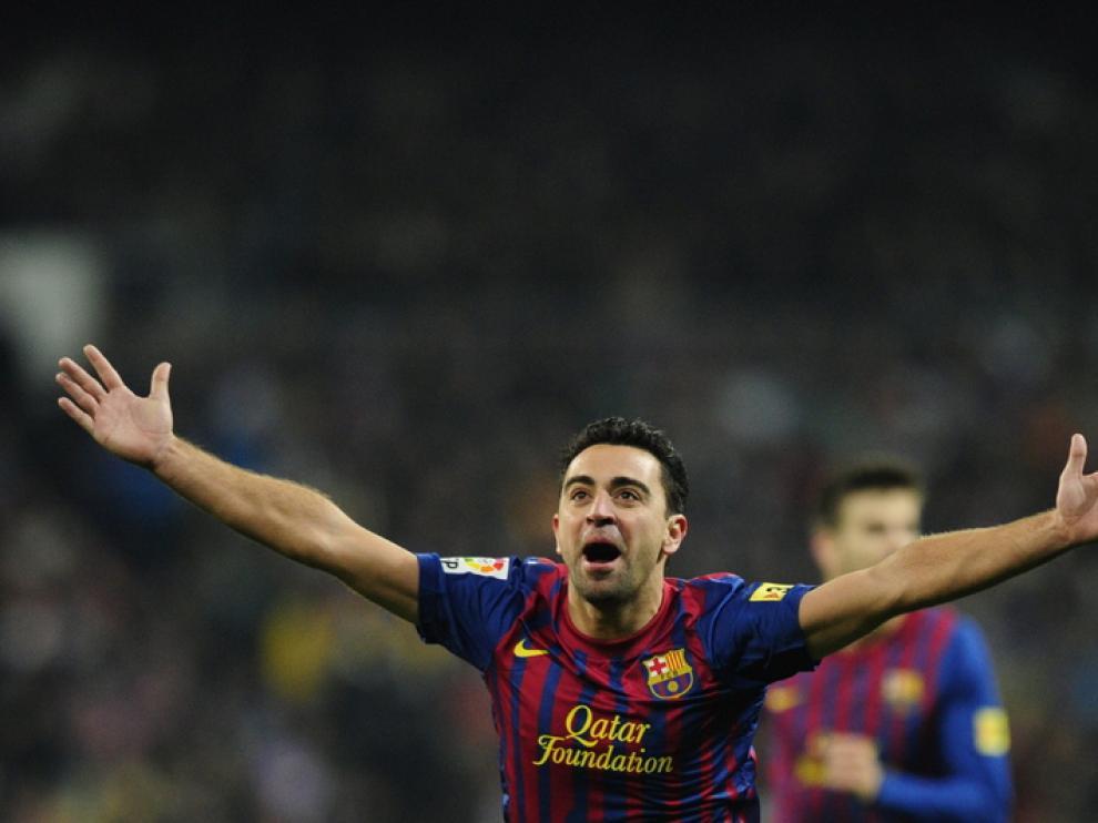 Xavi celebra el tercero