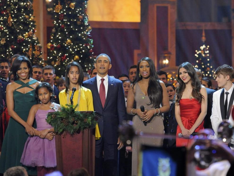 Los Obama durante el concierto