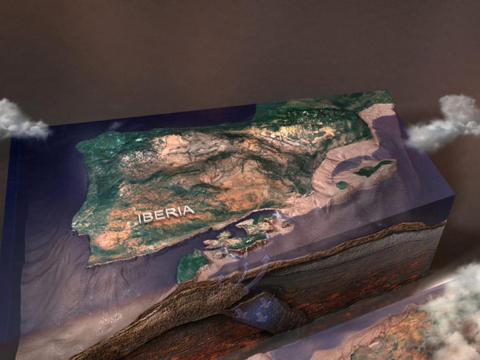 Imagen facilitada por CSIC que recrea el mar Mediterráneo hace seis millones de años