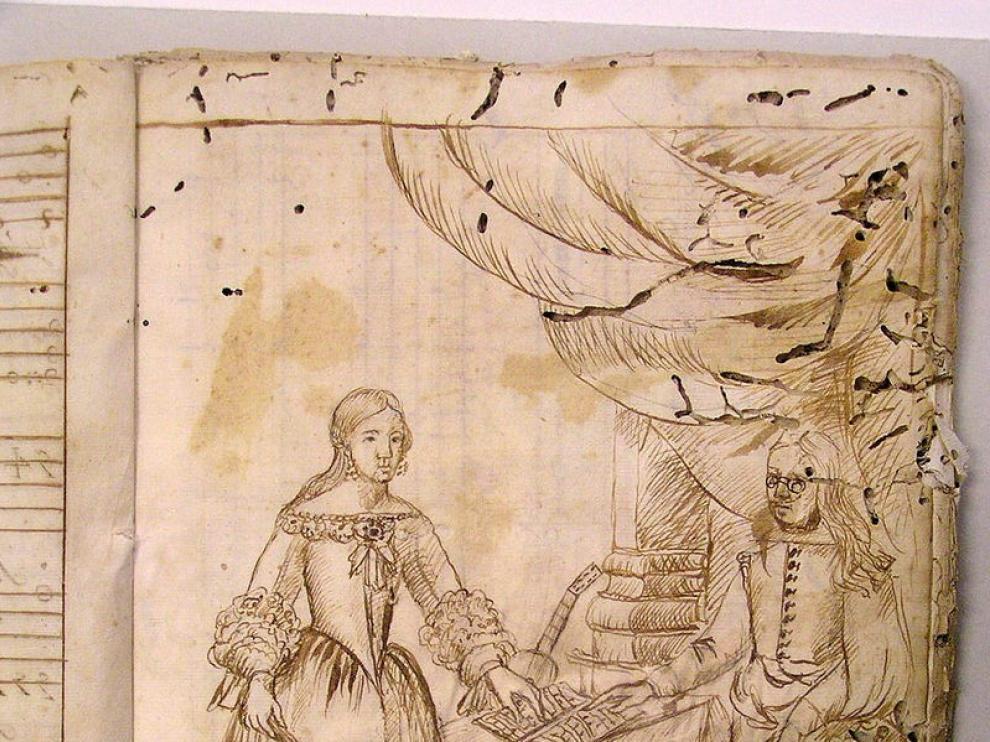 Dibujo encontrado en las partituras