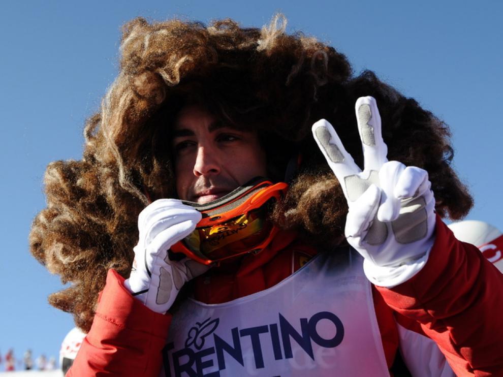 Fernando Alonso durante la exhibición de este viernes