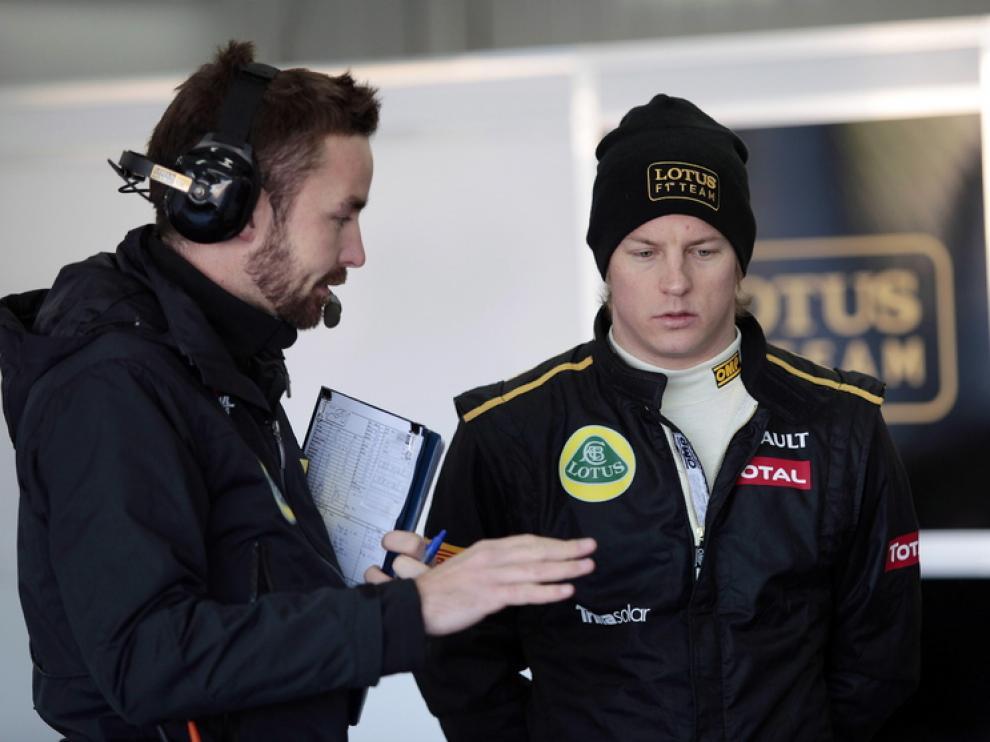 Kimi Raikkonen durante la sesión de entrenamiento.
