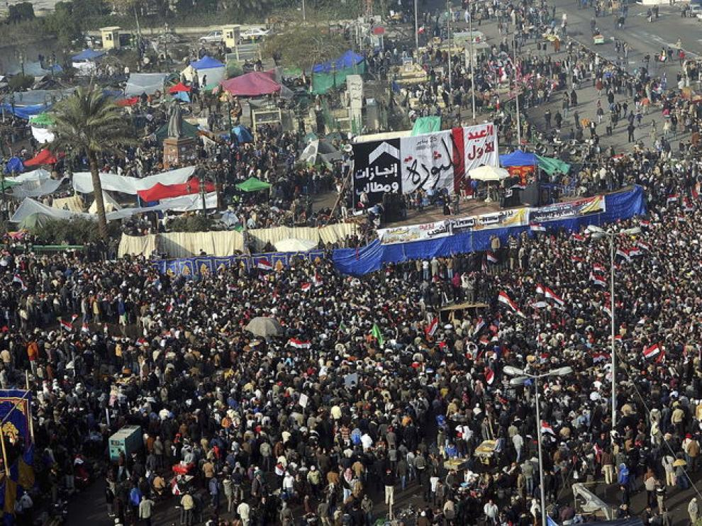 Vista aérea de la plaza de Tahrir
