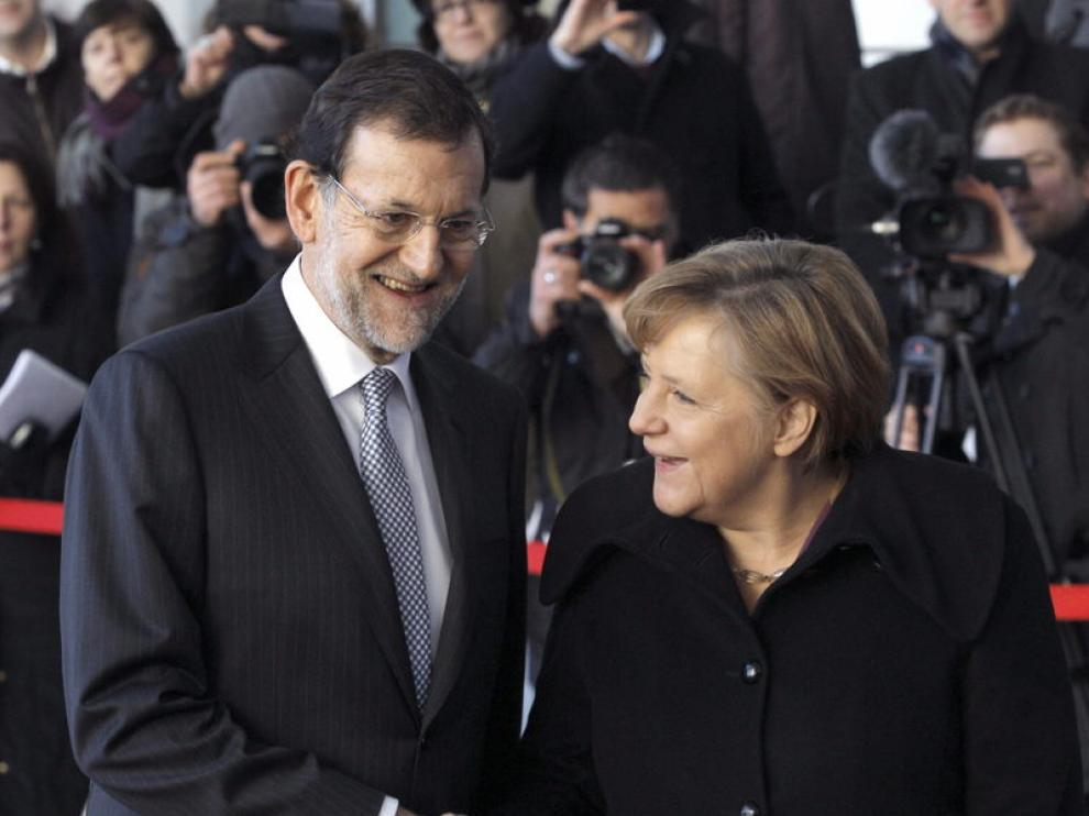 La canciller alemana, Angela Merkel, recibe este mediodía al presidente del Gobierno español, Mariano Rajo