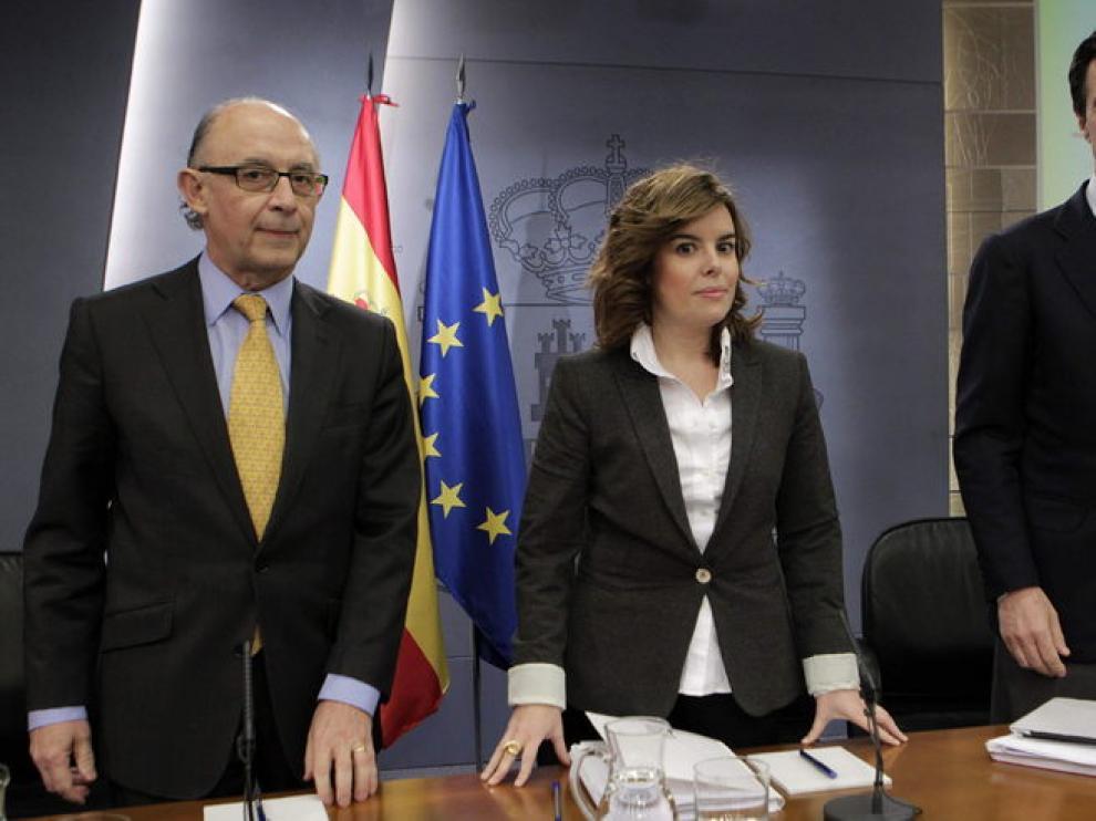 Soraya Sáenz de Santamaría, Cristóbal Montoro y José Manuel Soria