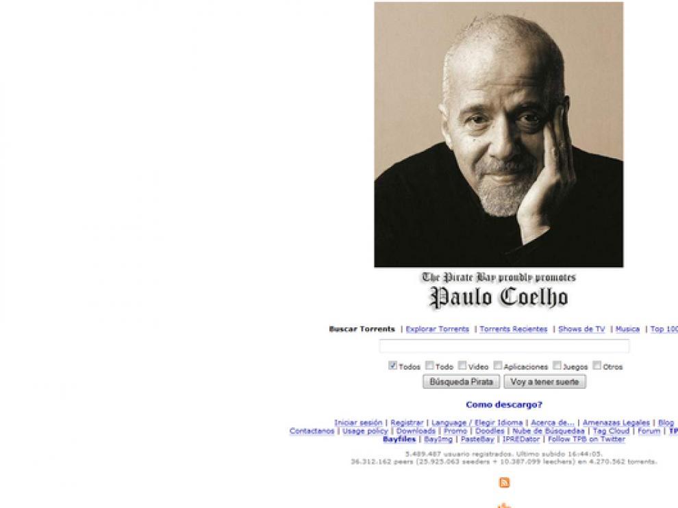 El portal ha cambiado hoy su logo por una foto de Coelho