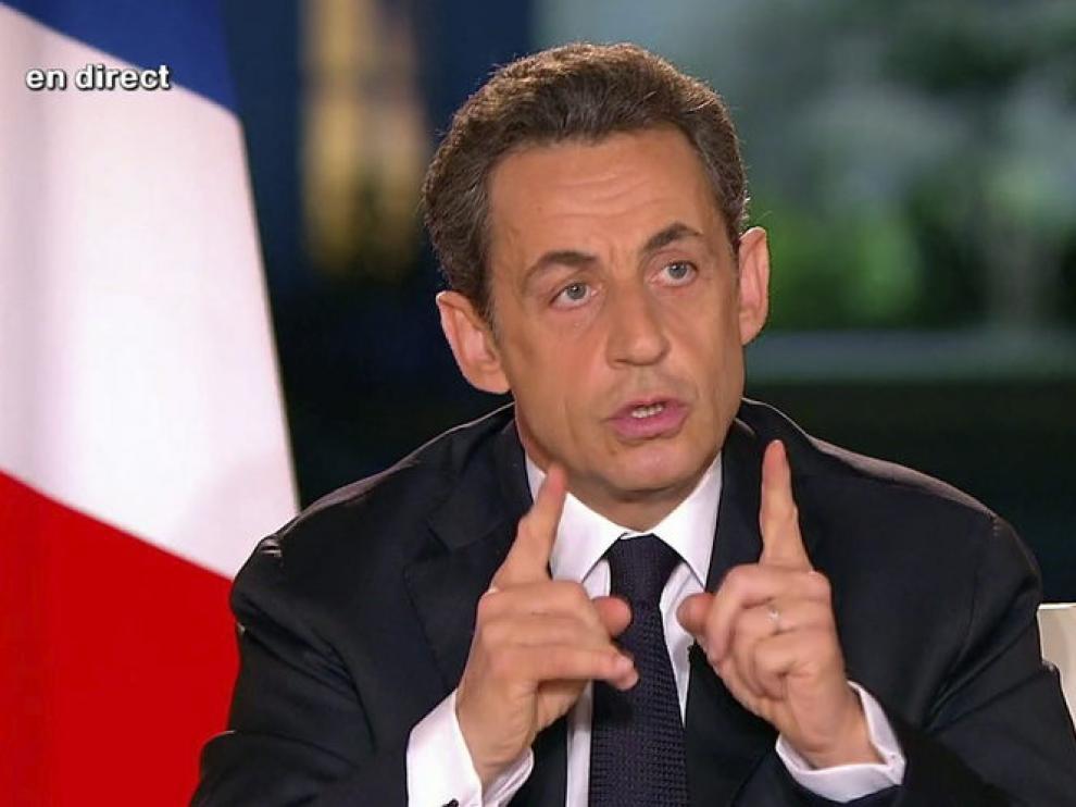 Nicolás Sarkozy durante una entrevista en el palacio del Eliseo para France 2.