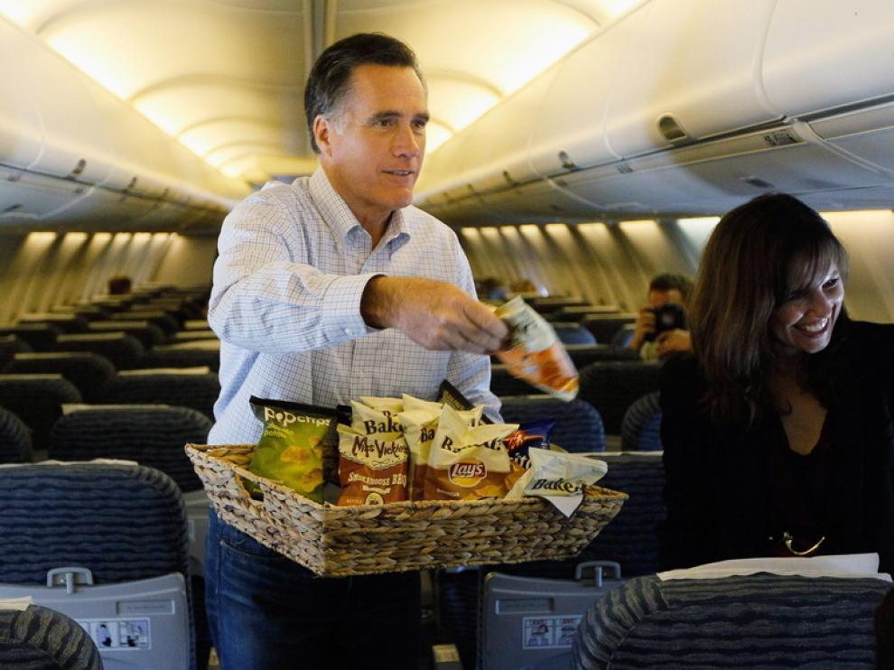 Romney en un avión