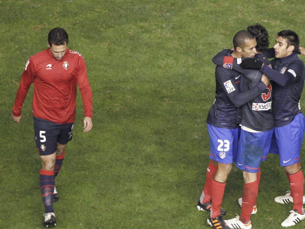 Los jugadores del Atlético celebran la victoria