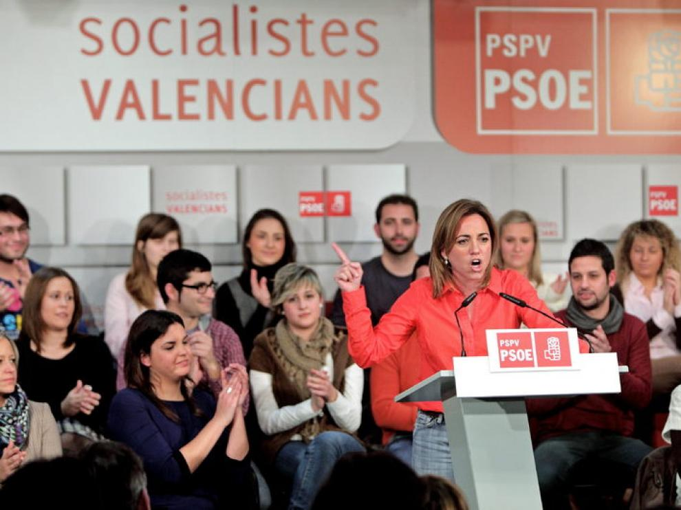 Carme Chacón durante su intervención esta tarde en la sede del PSPV-PSOE