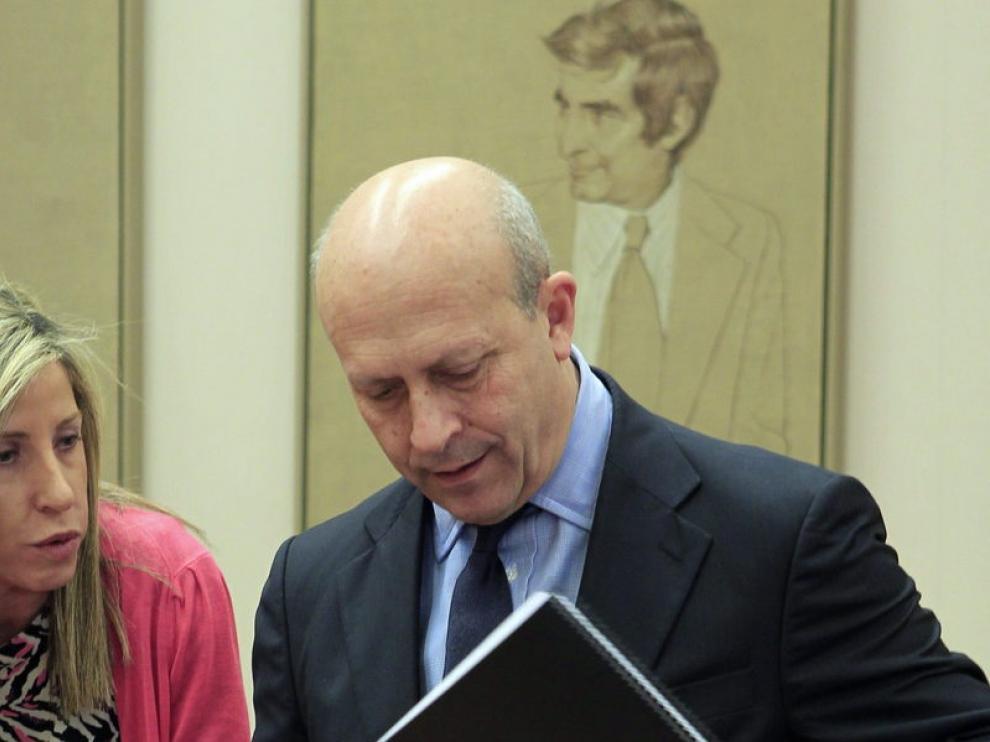 El ministro de Educación momentos antes de comparecer en el Congreso