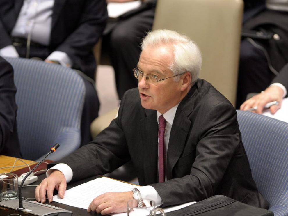 El embajador ruso durante la reunión del Consejo de Seguridad.