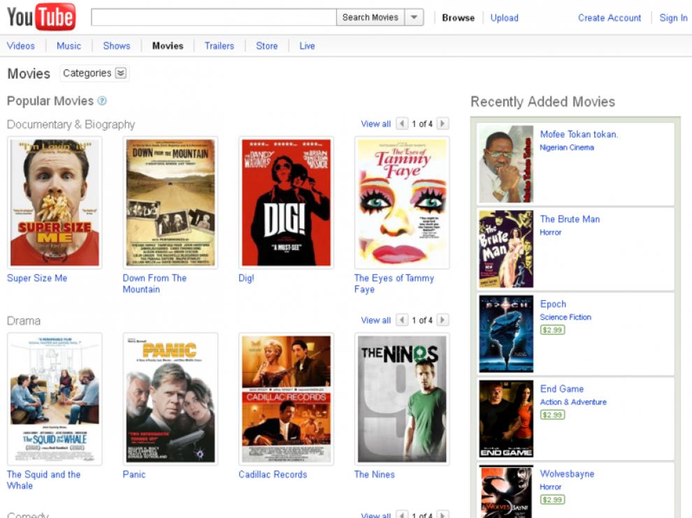 YouTube ya ofrece en EE. UU. alquiler de películas