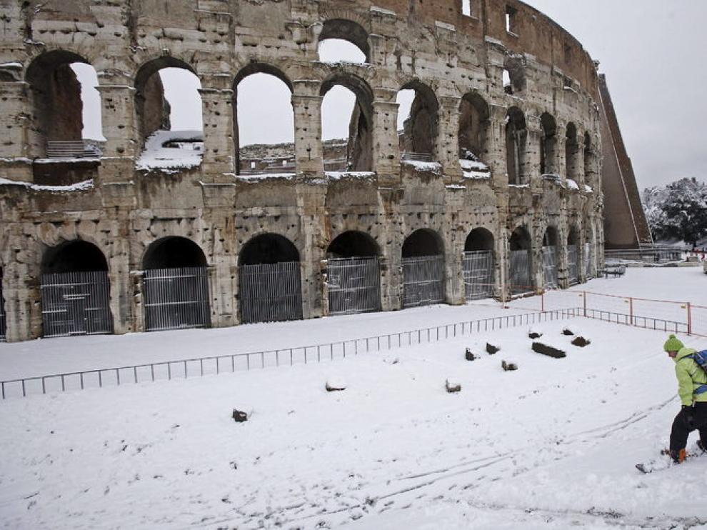 Imagen de este sábado de Roma, donde también ha llegado la ola de frío siberiano