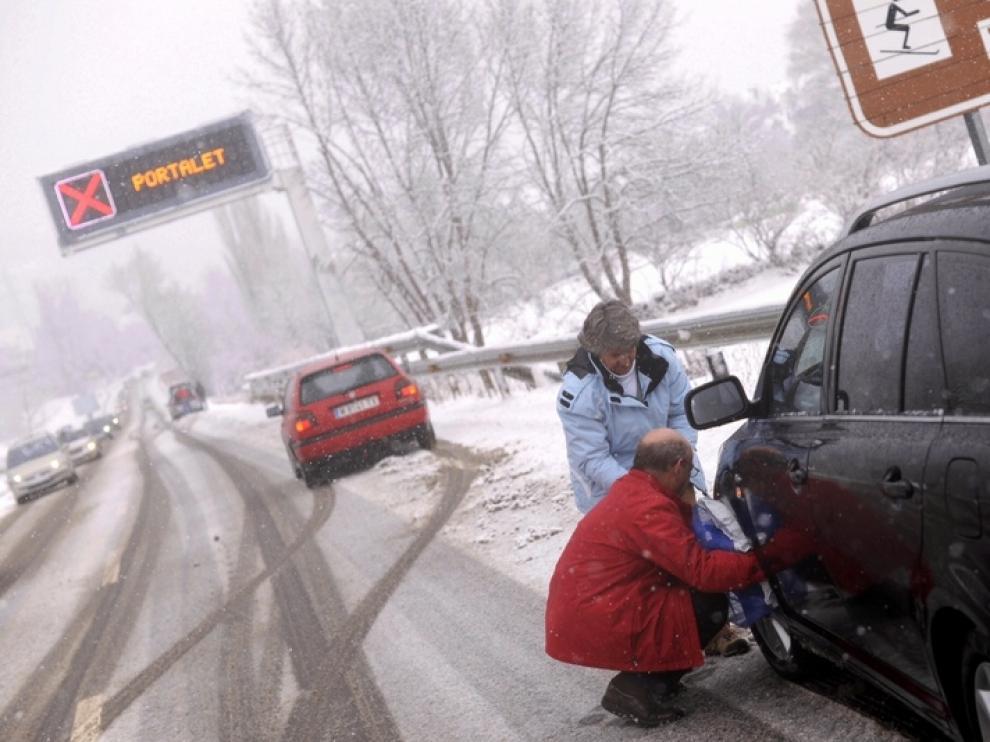 Nieve en Biescas este domingo