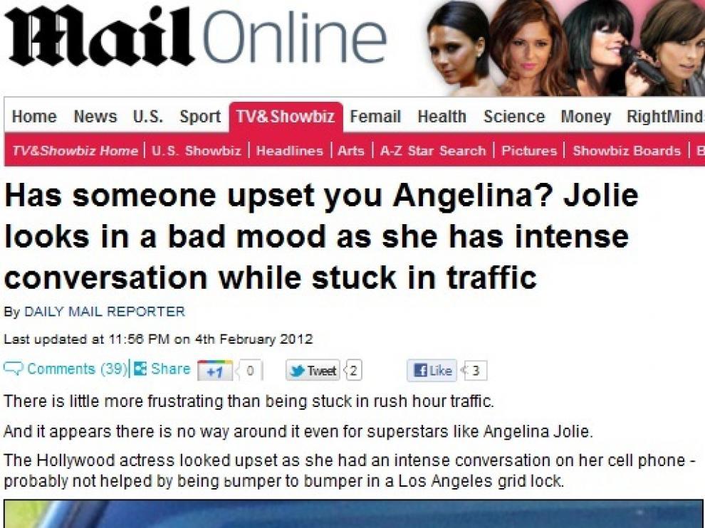 Imagen de Angelina Jolie enfadada publicada por el 'Daily Mail'