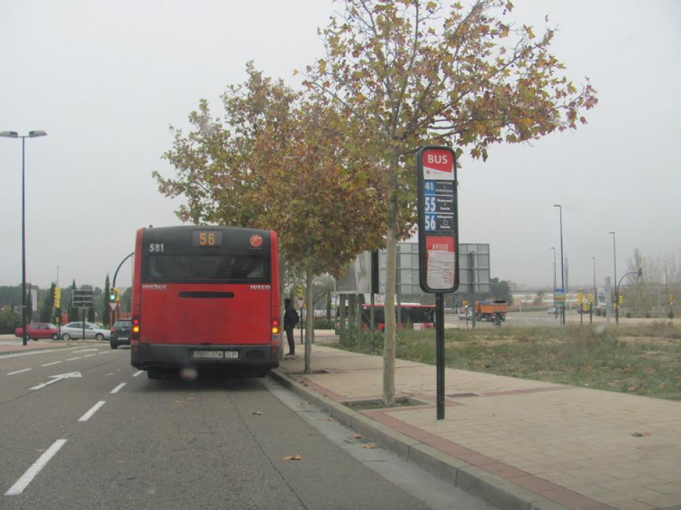 Imagen de una línea de autobús urbano en Zaragoza