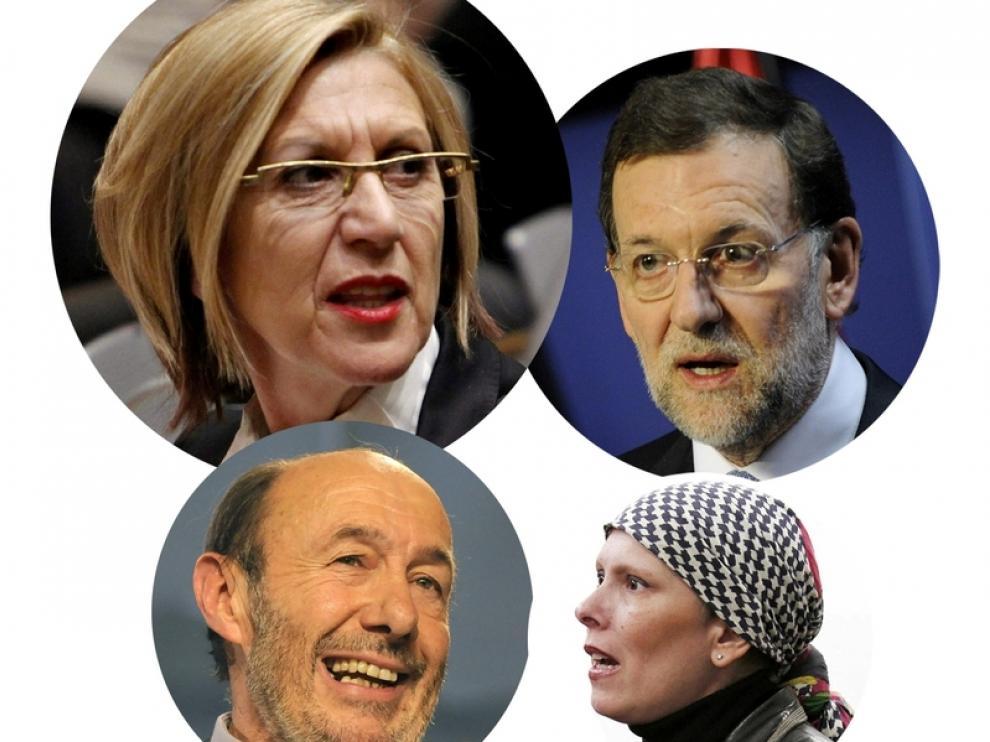 Díez, Rajoy, Rubalcaba y Uxue
