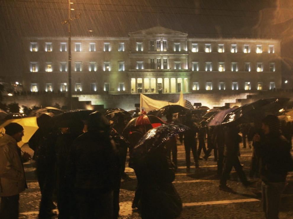 Protesta de este lunes en Atenas
