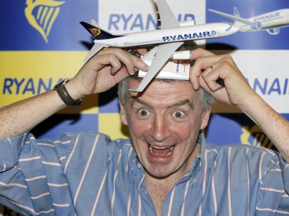 El presidente de Ryanair, Michael O'Leary, durante le anuncio de seis nuevas rutas desde el aeropuerto de El Prat
