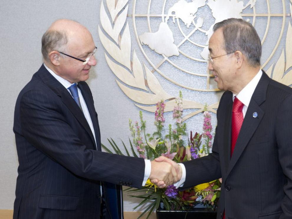 Héctor Timerman con el secretario general de Naciones Unidas