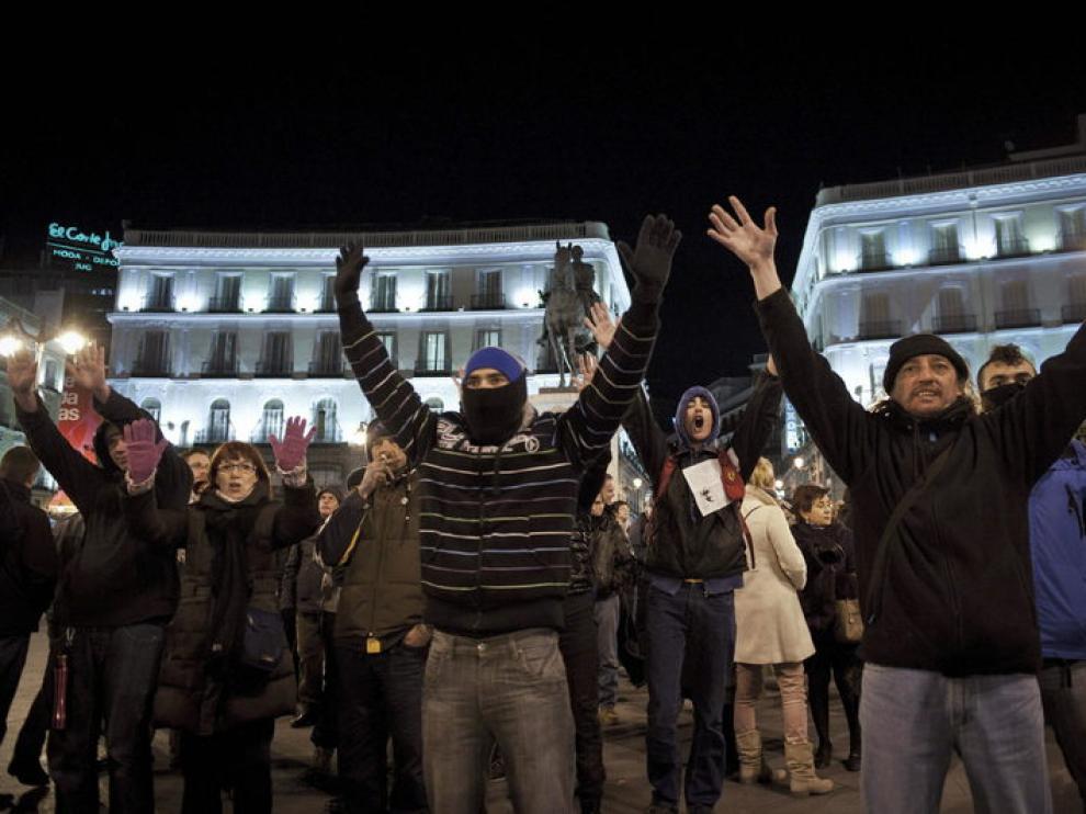 Manifestación en Sol en apoyo de los detenidos