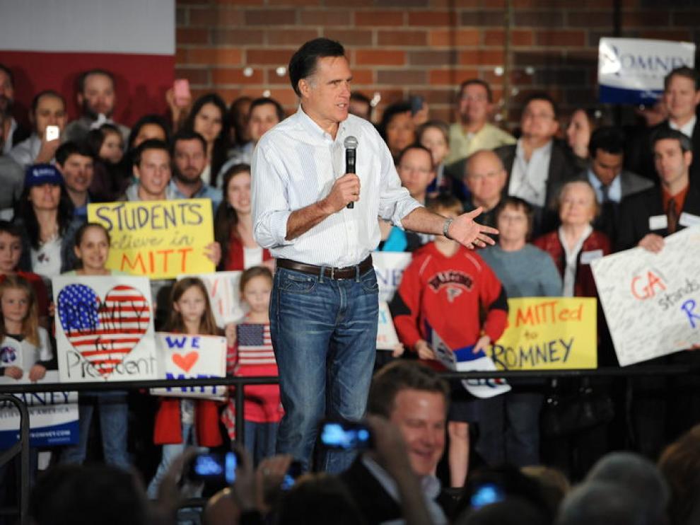 Imagen de archivo de Mitt Romney durante un acto de campaña.