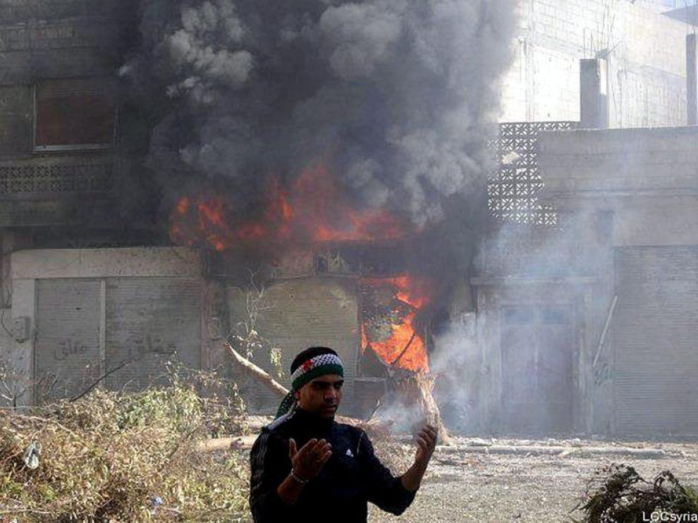 Imagen de una casa bombardeada por el ejército sirio en Homs.