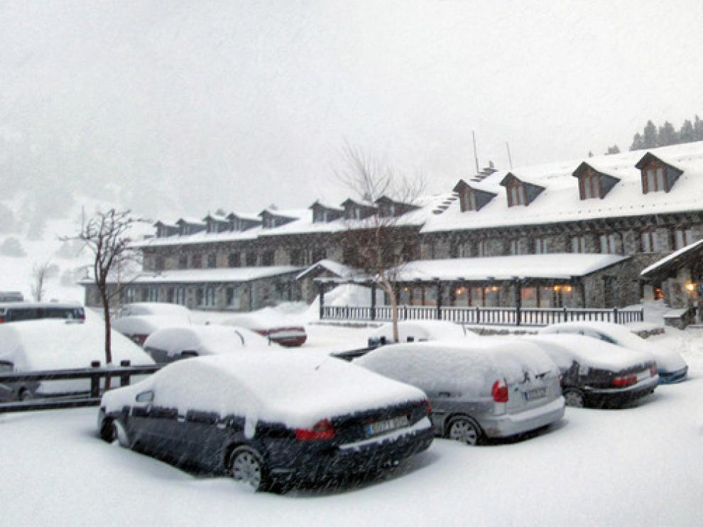 Más de 20 centímetros de nieve en el Hospital de Benasque