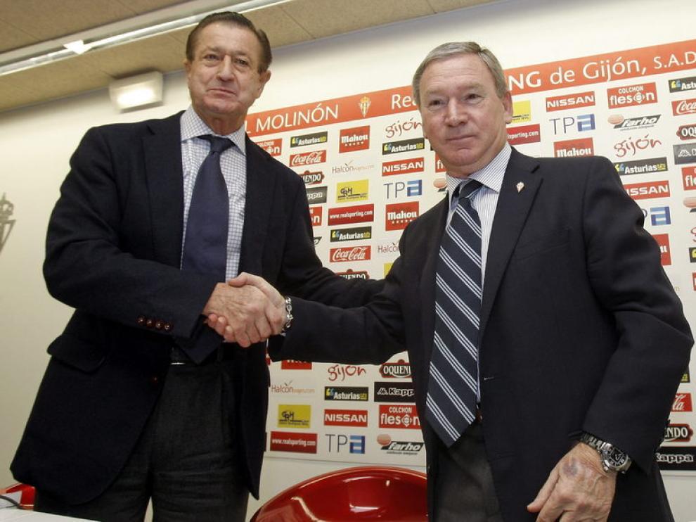 Clemente, con el presidente del Sporting