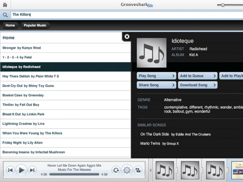 Imagen del servicio de música online.