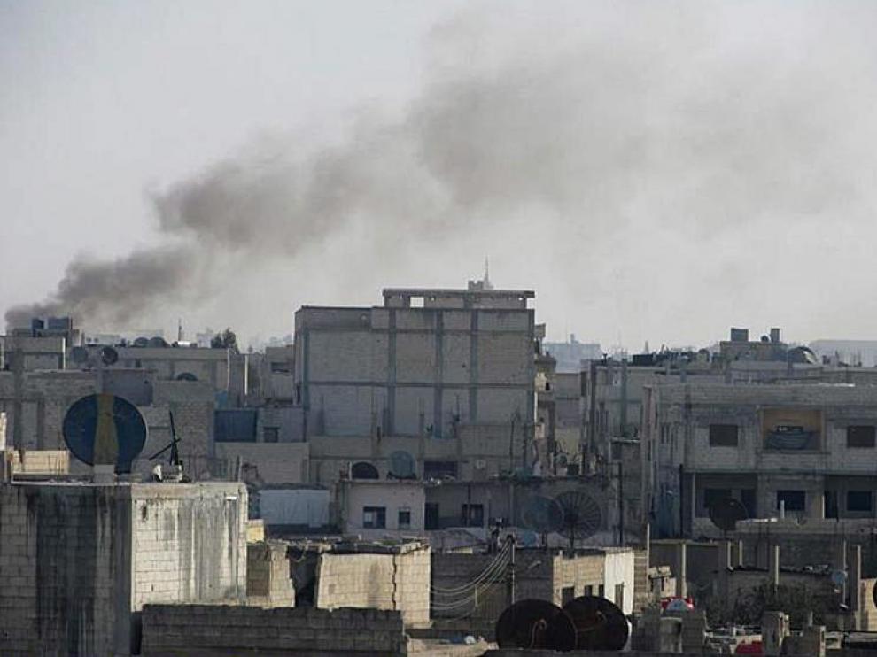 Imagen de los bombardeos sobre Homs