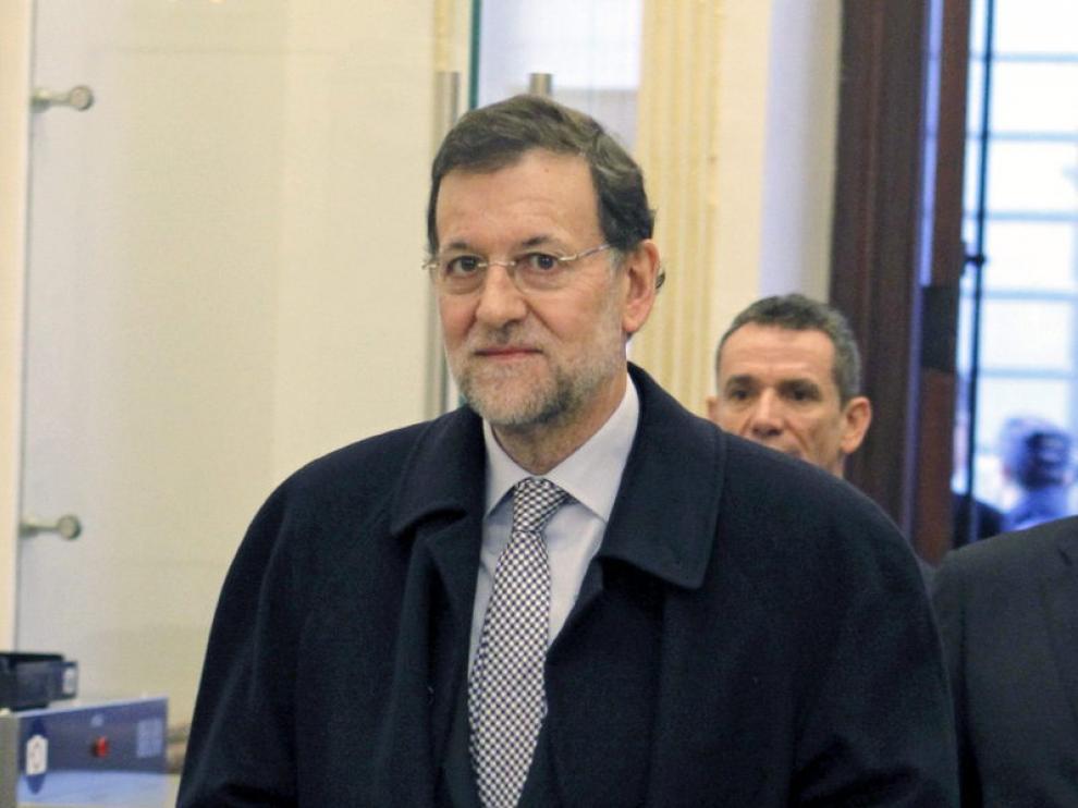 Rajoy, a su llegada al Congreso