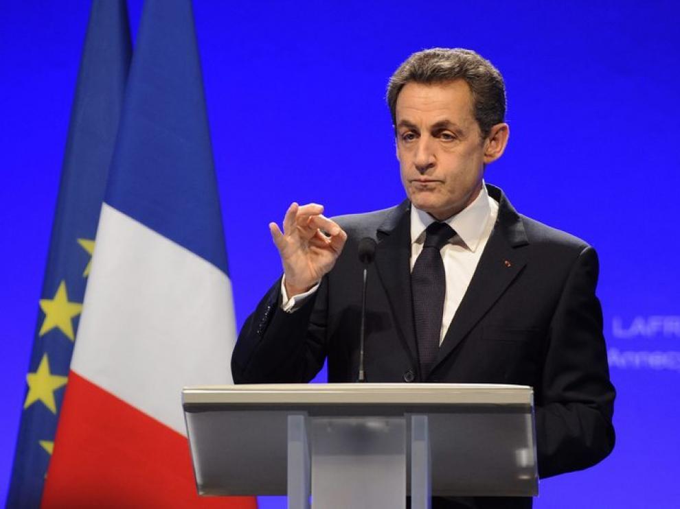 Nicolas Sarkozy, candidato a las elecciones presidenciales en Francia, da un discurso en Annecy.