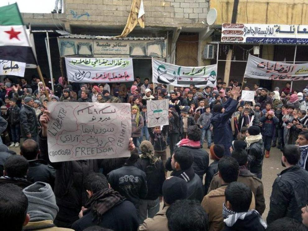 La manifestación convocada en Marea (Siria).