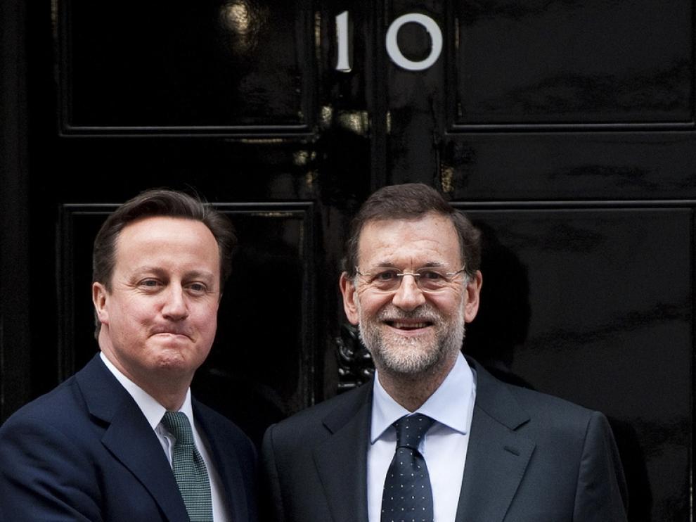 David Cameron y Mariano Rajoy en el 10 de Downing Street