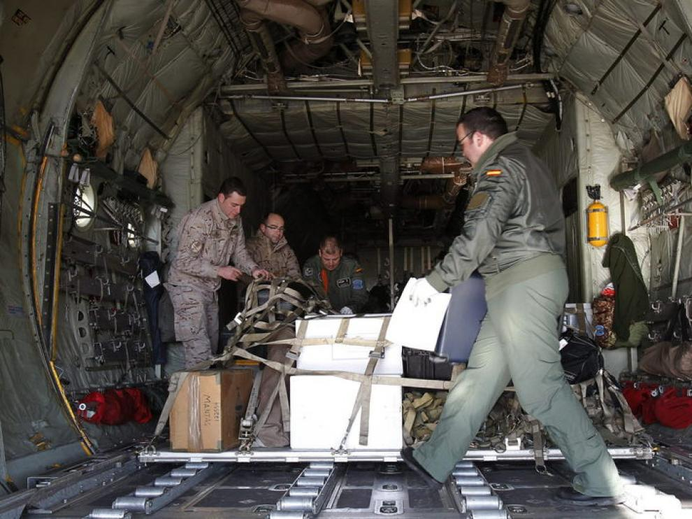 Militares españoles en la base de Florida