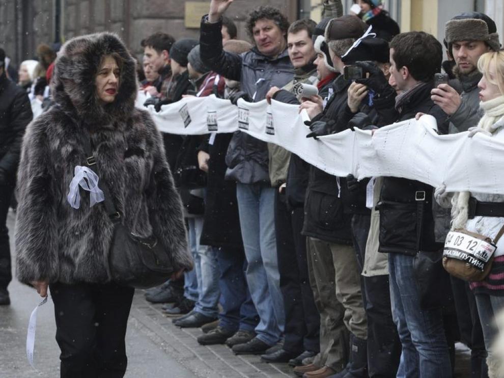 Protesta en el centro de la capital rusa