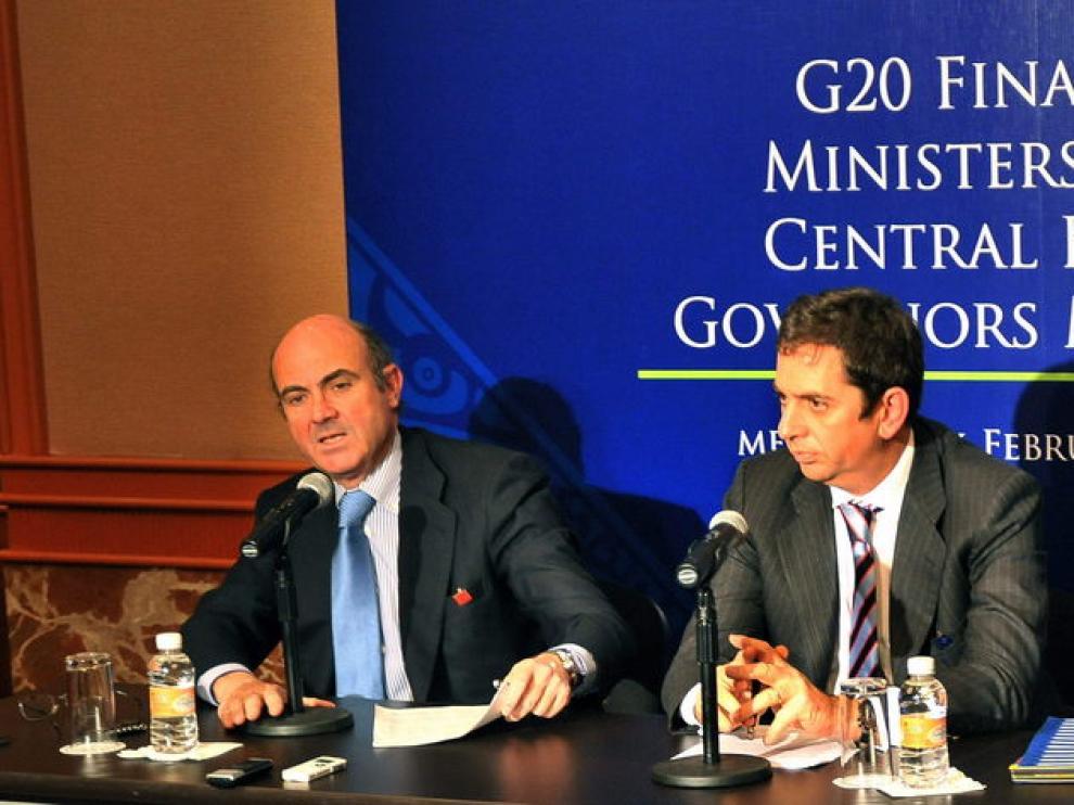 De Guindos durante la reunión de Ministros de Finanzas y gobernadores de bancos centrales.