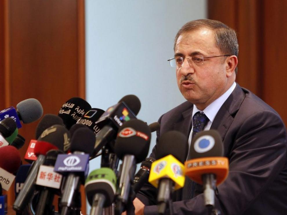 El Ministro del Interior sirio durante una rueda de prensa en Damasco.