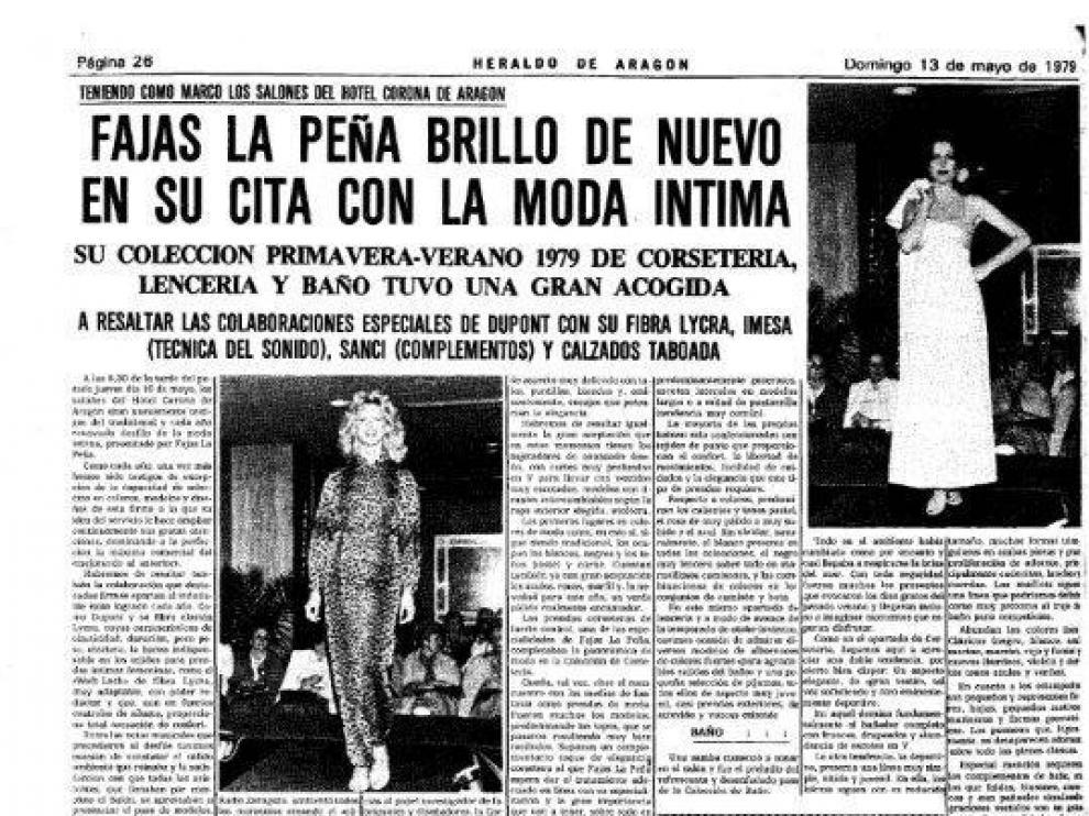 Un desfile de modelos de Fajas La peña que publicó Heraldo de Aragón en 1974