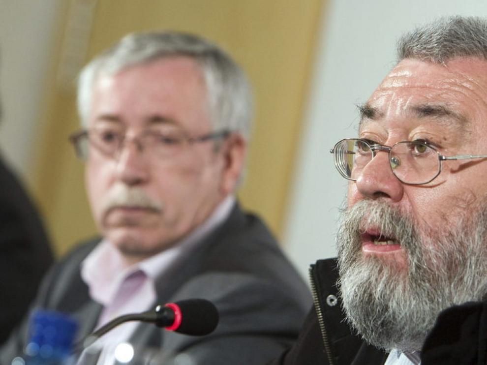 Los secretarios generales de CC. OO. y UGT, Ignacio Fernández Toxo y Cándido Méndez,