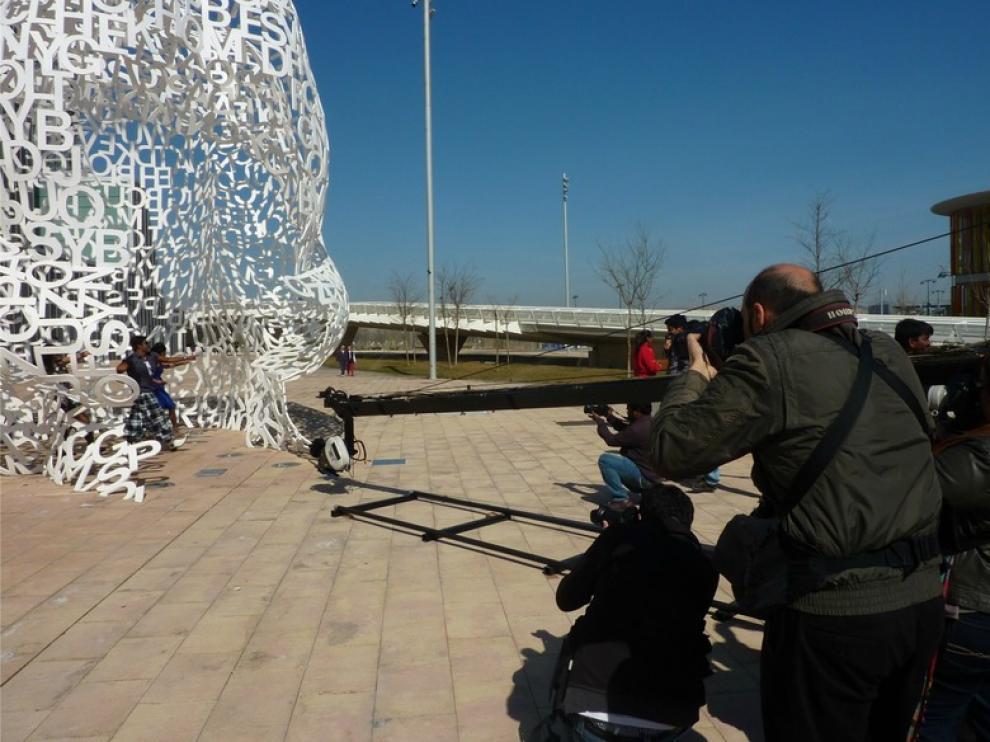 Escena del rodaje de la película 'Anna Bond' en Zaragoza