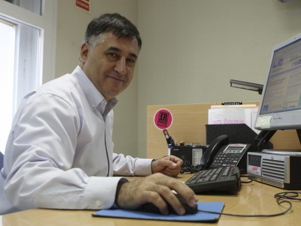 Gervasio Sánchez en la redacción de HERALDO
