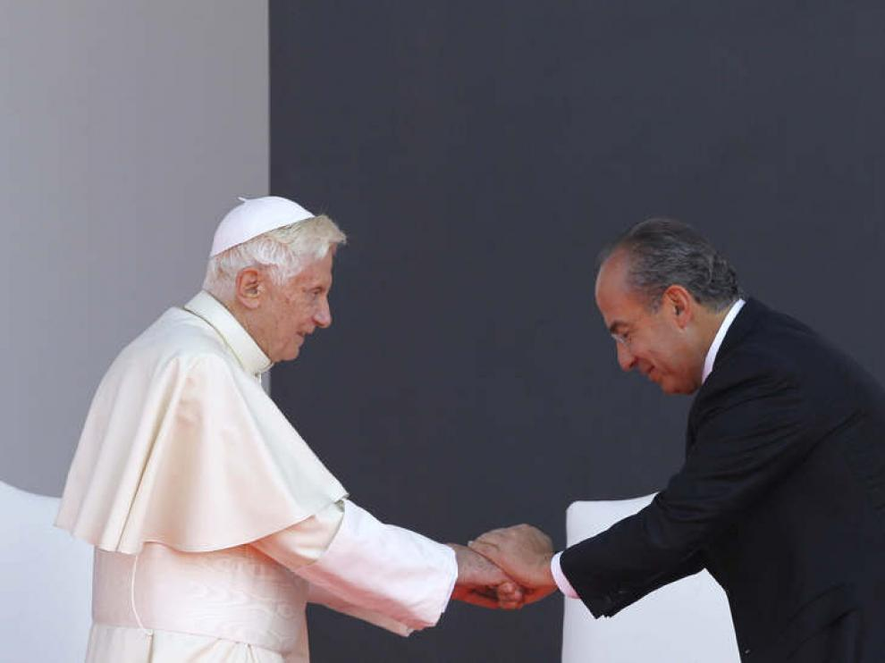 El Papa con el presidente mexicano, Felipe Calderón
