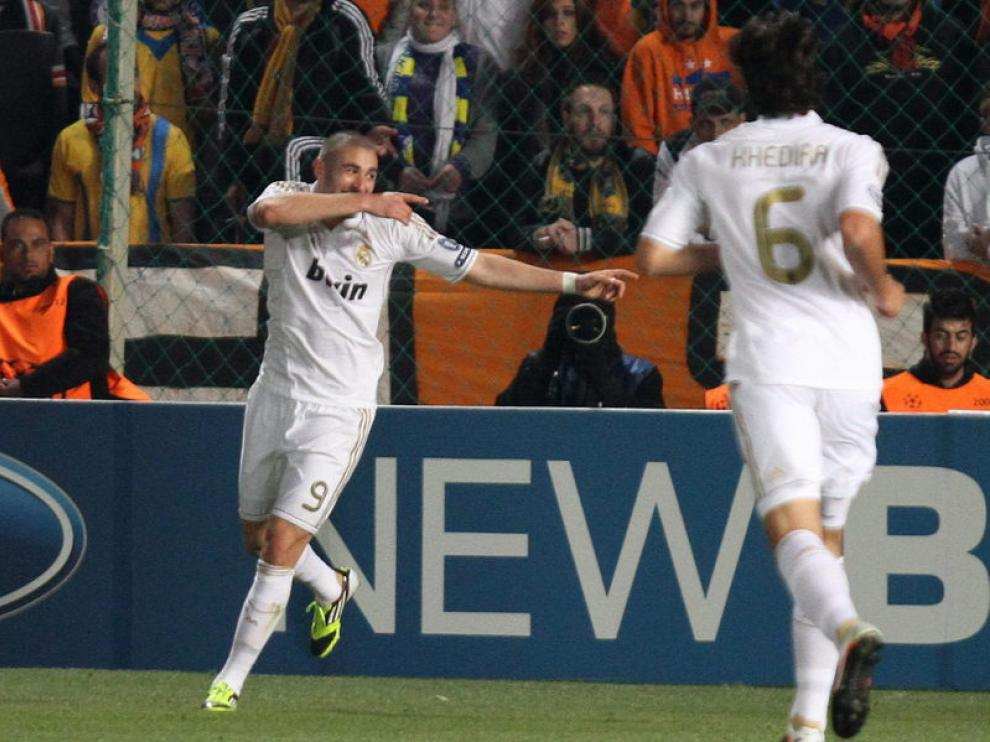 Benzema celebra un gol del Real Madrid
