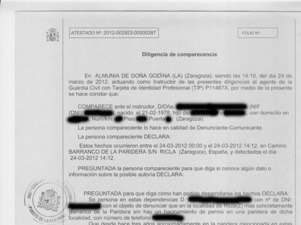 Imagen de la denuncia presentada ante el Seprona.