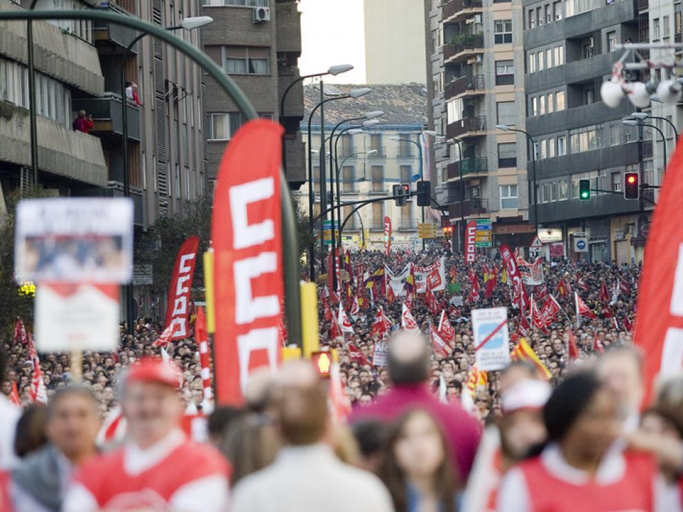 Imagen de la manifestación en Zaragoza