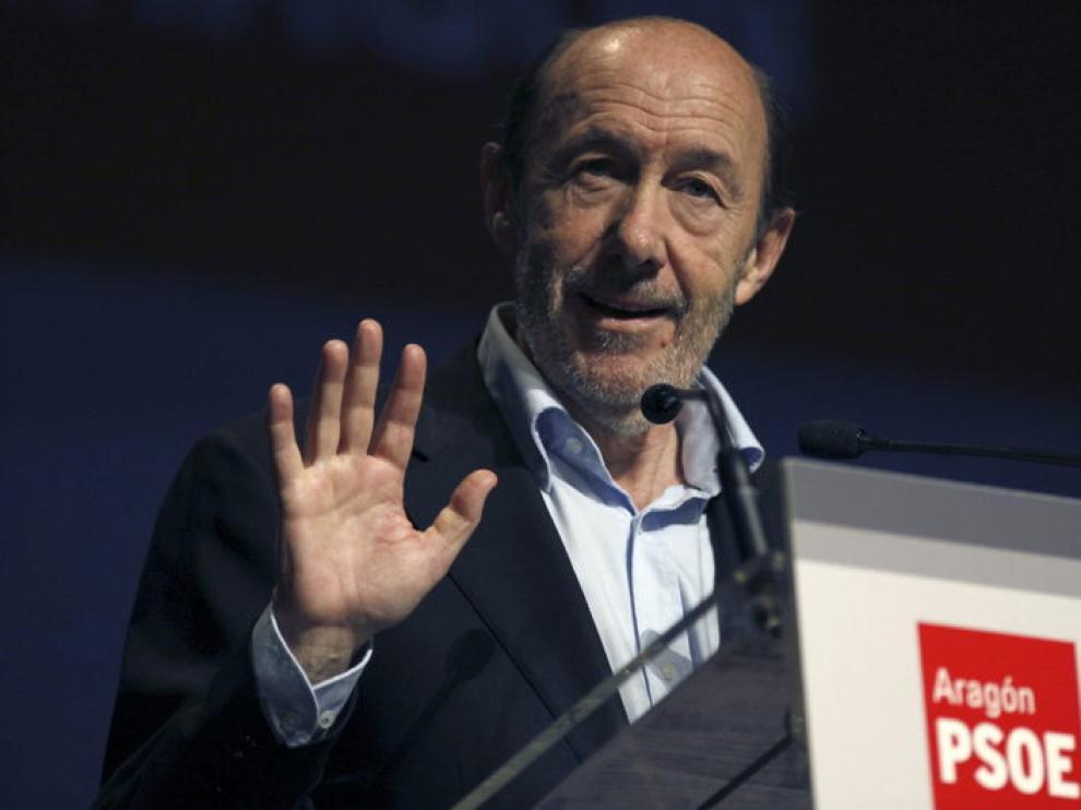 Rubalcaba, en el congreso del PSOE de Aragón.