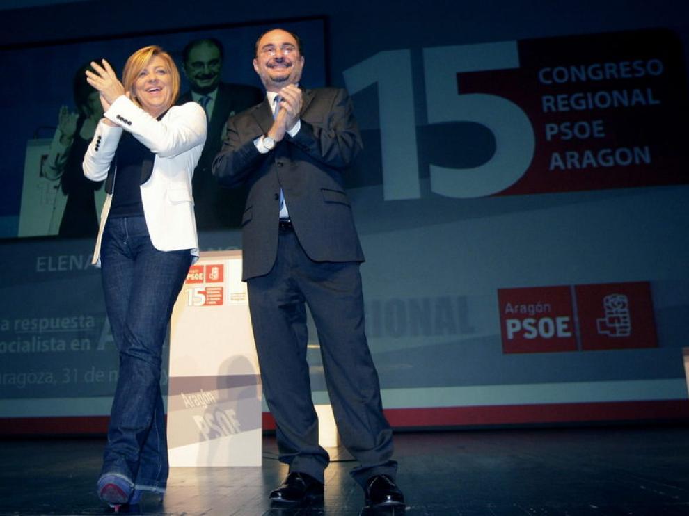 Lambán y Valenciano, en la clausura del congreso.